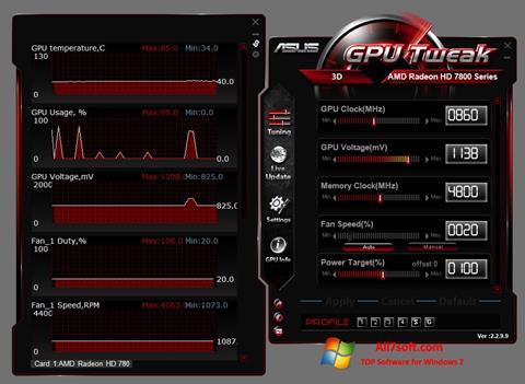 Petikan skrin ASUS GPU Tweak untuk Windows 7