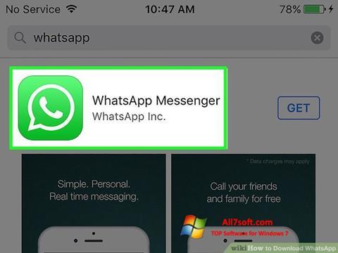 Petikan skrin WhatsApp untuk Windows 7