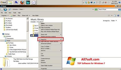 Petikan skrin MagicISO untuk Windows 7