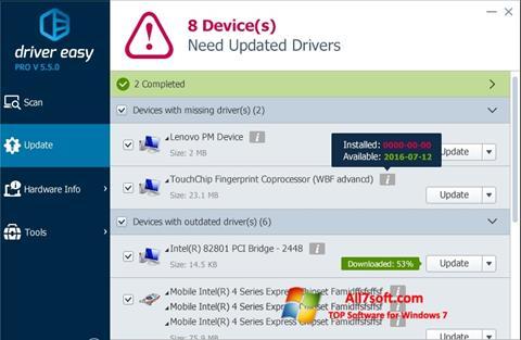 Petikan skrin Driver Easy untuk Windows 7