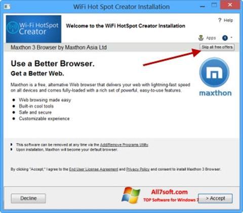 Petikan skrin Wi-Fi HotSpot Creator untuk Windows 7