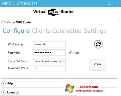 Petikan skrin Virtual WiFi Router untuk Windows 7