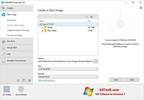 Petikan skrin DAEMON Tools Lite untuk Windows 7