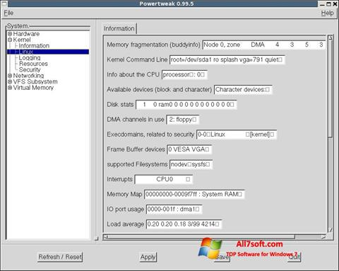 Petikan skrin PowerTweak untuk Windows 7