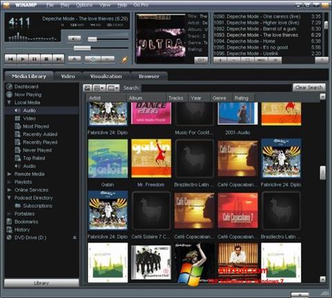 Petikan skrin Winamp untuk Windows 7