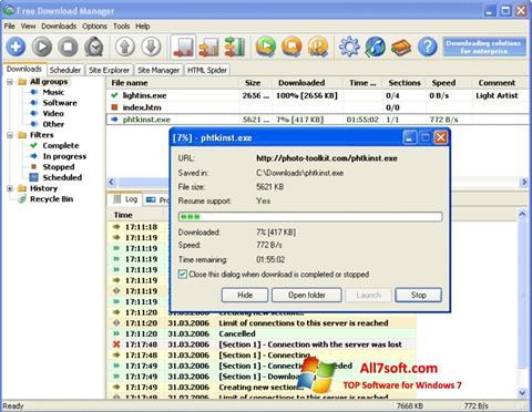 Petikan skrin Download Master untuk Windows 7