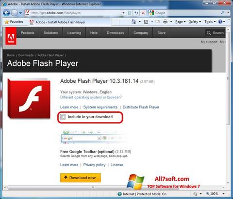 Petikan skrin Adobe Flash Player untuk Windows 7