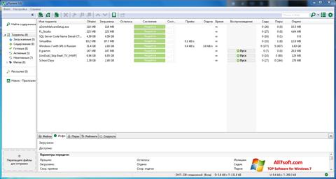 Petikan skrin uTorrent untuk Windows 7