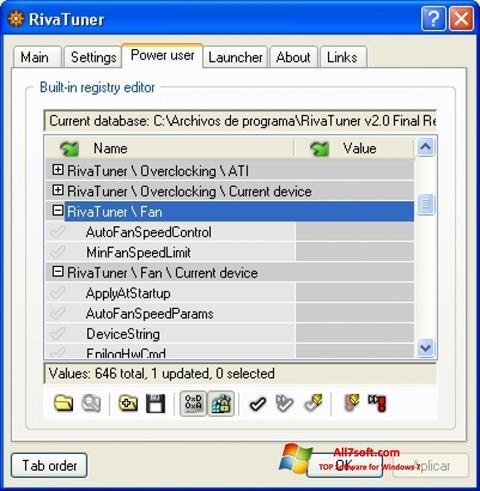 Petikan skrin RivaTuner untuk Windows 7