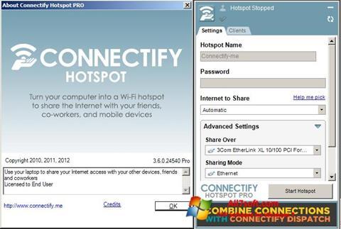 Petikan skrin Connectify untuk Windows 7