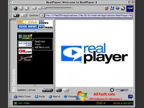 Petikan skrin RealPlayer untuk Windows 7