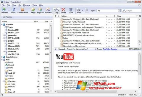 Petikan skrin Mozilla Thunderbird untuk Windows 7