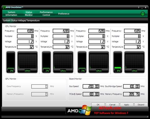 Petikan skrin AMD Overdrive untuk Windows 7