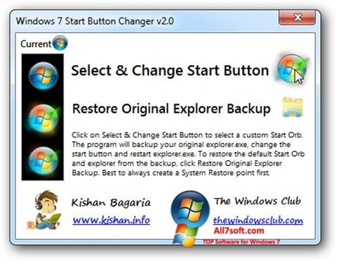 Petikan skrin Windows 7 Start Button Changer untuk Windows 7